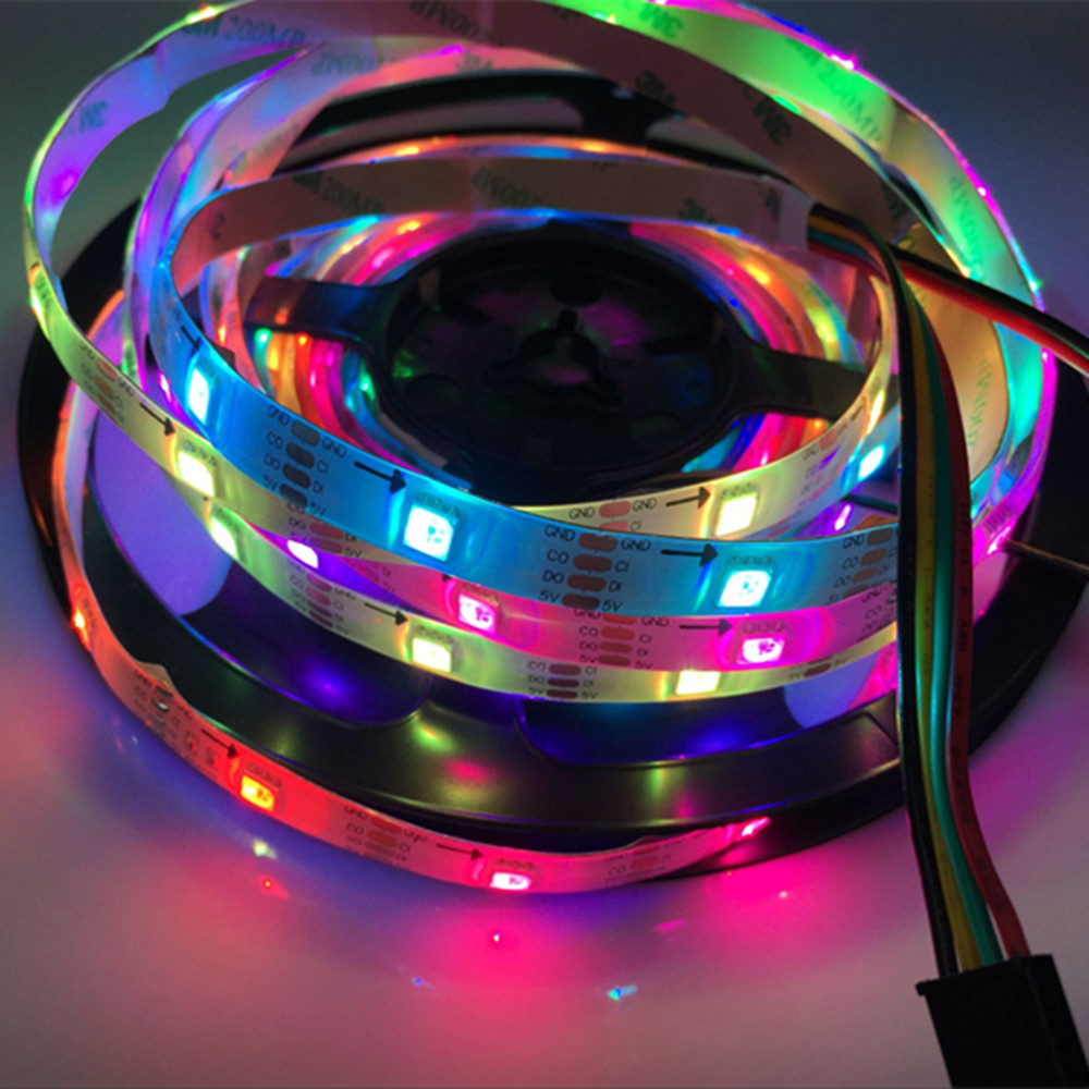 YIYANG 5M Waterproof APA102 Addressable Smart LED Strip White PCB 30leds/m DC 5v Pixels Build in Chips Magic Color LED Strips