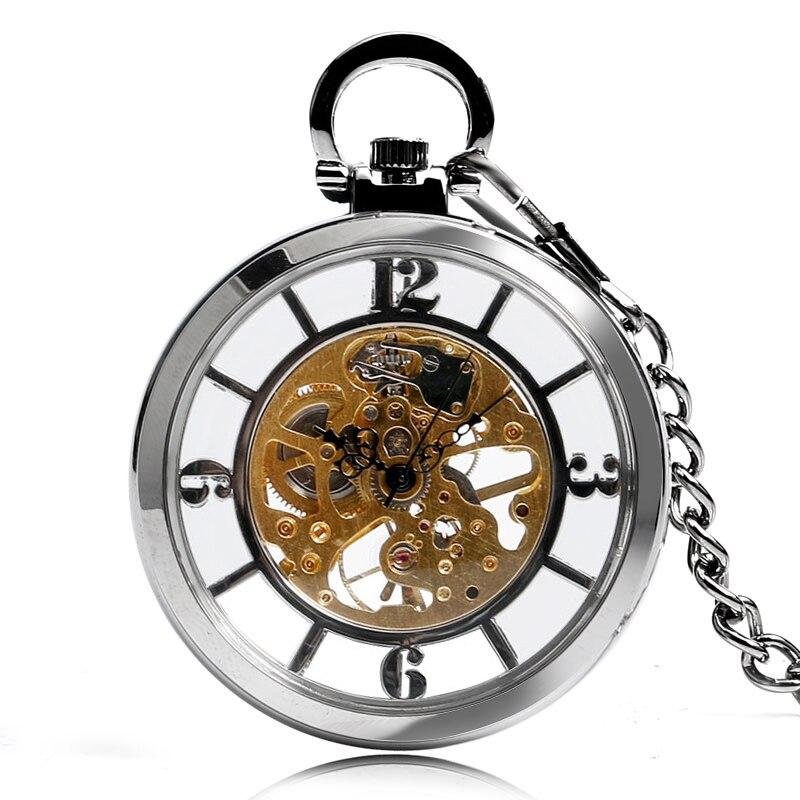 Uhren Steampunk Skeleton Mechanische Handaufzug Anhänger Stilvolle Open Face Windup Arabischen Ziffern Unisex Fob Kette Geschenk Moderater Preis
