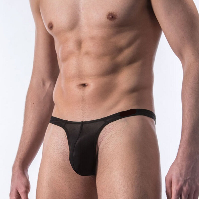 Sexy Men U Convex Pouch Ice Silk G-string Jockstrap Low Rise Thongs Bikini Cock Ring Penis Gay Wear Erotic lingerie FX5