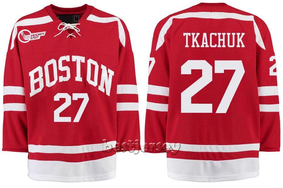 Kowell Customized Boston University 27 Brady Tkachuk Stitched Hockey Jersey