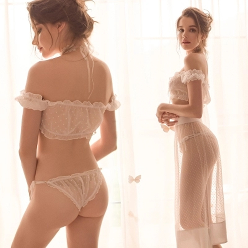 Yhotmeng Transparent   bra     sets   off shoulder sexy lingerie super perspective chiffon underwear women adjustable panties hot sale
