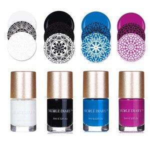 Image 1 - NICOLE DIARY esmalte de uñas estampado, esmalte de uñas estampado colorido, 5ml, negro, dorado y plateado, 9ml