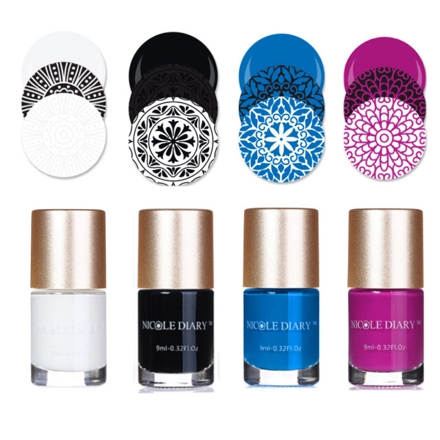 NICOLE DIARY esmalte de uñas estampado, esmalte de uñas estampado colorido, 5ml, negro, dorado y plateado, 9ml