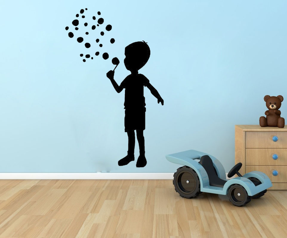 Little Boy Blowing Bubble Nursery Baby Wall Decor Vinyl