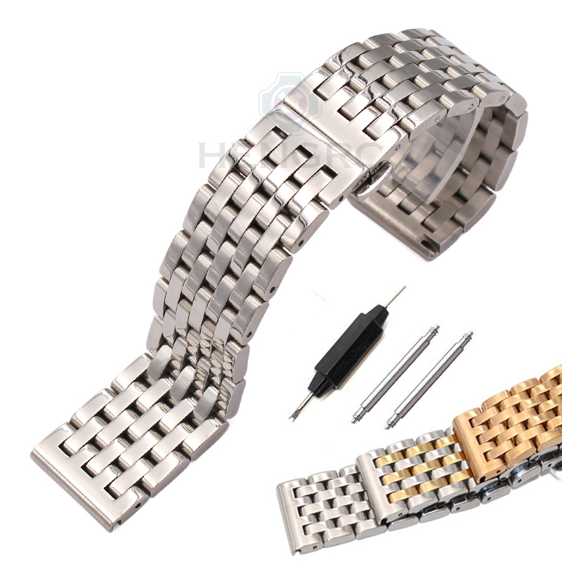 20mm 22mm Watchband Strap Solid Stainless Steel Men Women Metal Straight End Bracelet Silver 4 Colors Watch Band Accessories top quality new stainless steel strap 18mm 13mm flat straight end metal bracelet watch band silver gold watchband for brand