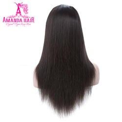 Аманда Full Lace прямые волосы парики бразильский Волосы remy 150% плотность предварительно сорвал человеческих волос парики с ребенком волос 10- 26