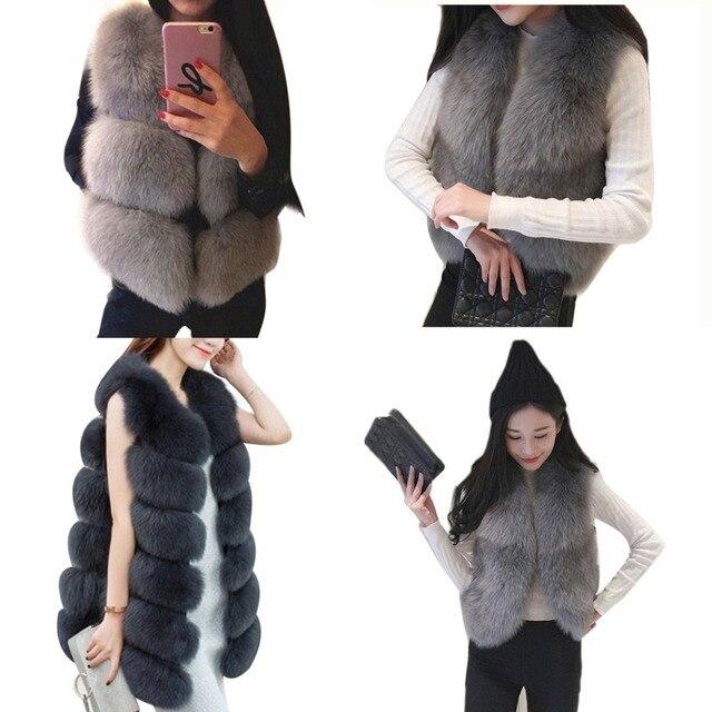 9baa88ded US $11.58 40% OFF|4 Style Women Faux Fur Vest Coat Winter Thick Warm Luxury  Fox Fur Jacket Outwear Gilet Ladies Hairy Overcoat Colete Feminino-in Faux  ...
