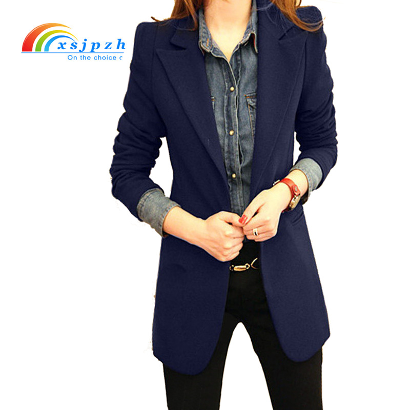 XSJPZH Women Long Sleeve Female Blazer Suit Jackets Black