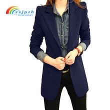 Xsjpzh Новая Европа Стиль Демисезонный плюс Размеры элегантные женские с длинным рукавом пиджак женский пиджак модный костюм куртки черный YQ004