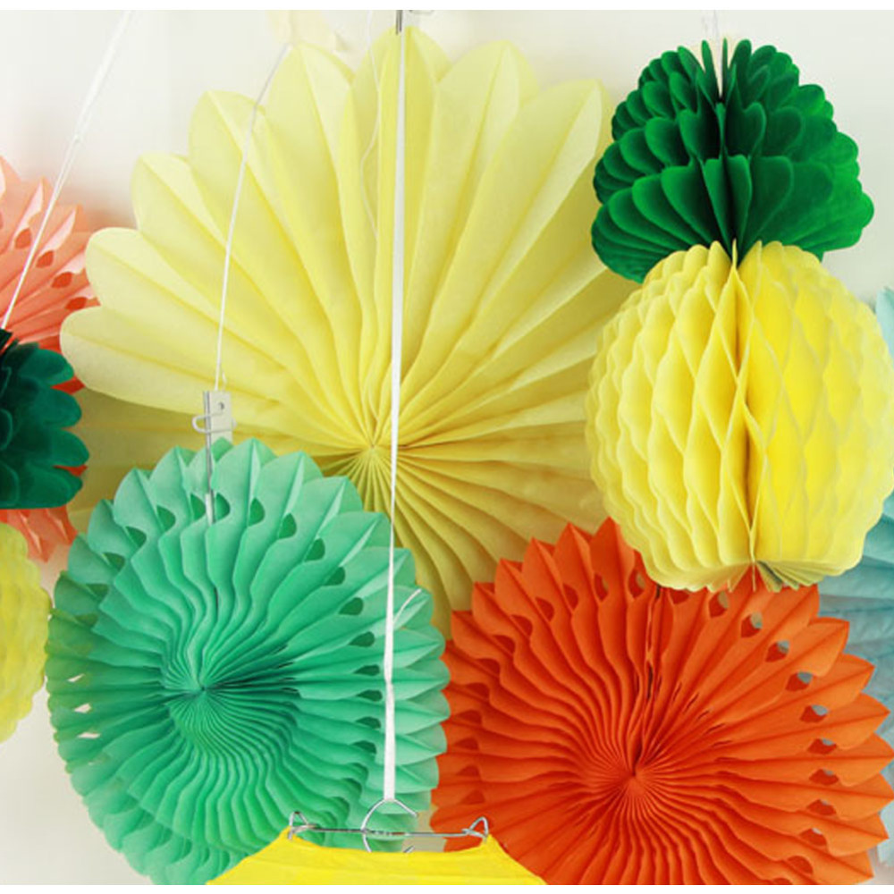 Set of 9 Summer Party Decoration Kit( Lantern,Paper Fans,Pineapple Garland) Tropical Hawaiian BBQ Beach Luau Birthday Pool Party Carnivals (1)
