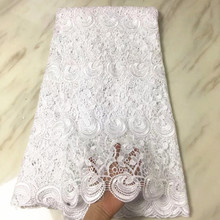 5 Yards/pc Top sale white flower african water soluble guipure lace embroidery for french cord fabric dress BW160-9