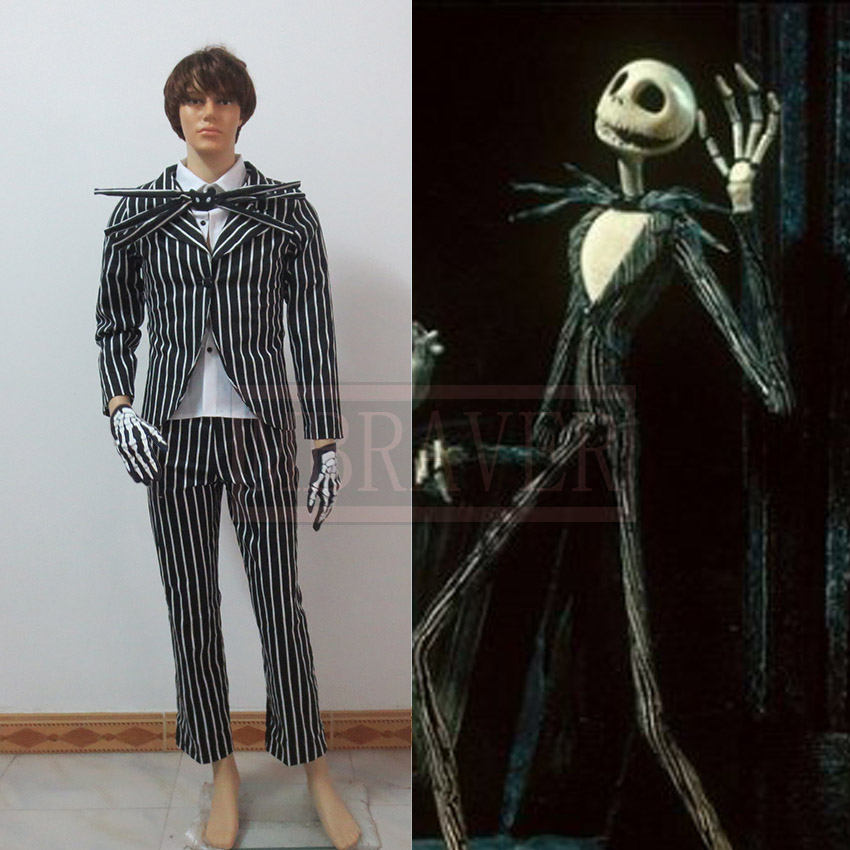 New Arrival The Nightmare Before Christmas Jack Skellington Black Stripe Suit Movie Costume Cosplay