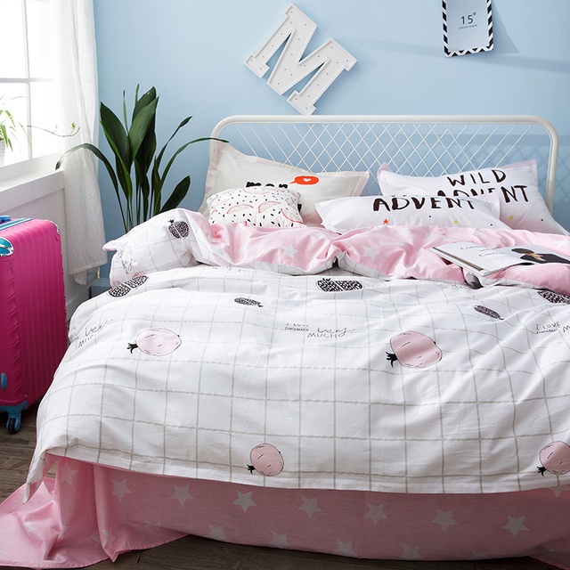 Marvelous Pink Star Bed Sheets Plaid Duvet Cover Soft Pillow Case For Girls 100%  Cotton Queen