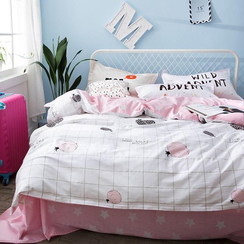 Pink Star Bed Sheets Plaid Duvet Cover Soft font b Pillow b font Case For Girls