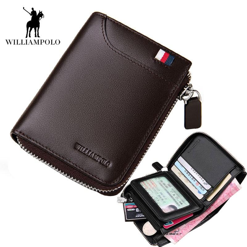 2018 NEW Mens Wallet Leather Genuine Small Zipper Men Wallets Purse Portmonee Man Slim Wallet Brand High Quality Designer EA0298