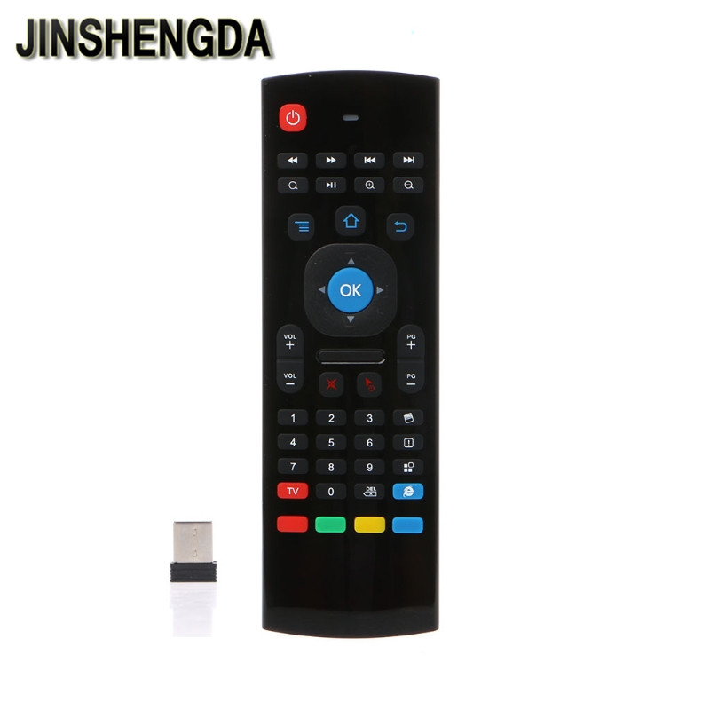 JINSHENGDA TV Remote Control MX3 2.4G Air Mouse Mini Wireless Keyboard Qwerty Infrared Remote Control No Mic