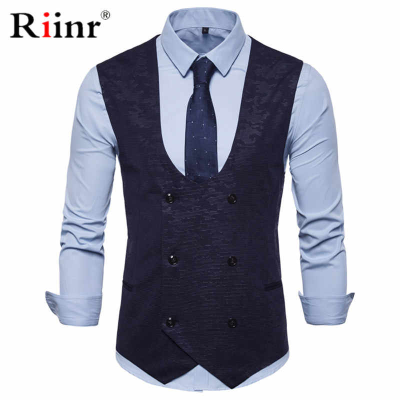 2019 New Vest Men Slim Fit Vests&Waistcoats Casual Double Breasted Waistcoat Mens Vest Men Slim Fit Mens Suit Vest Male
