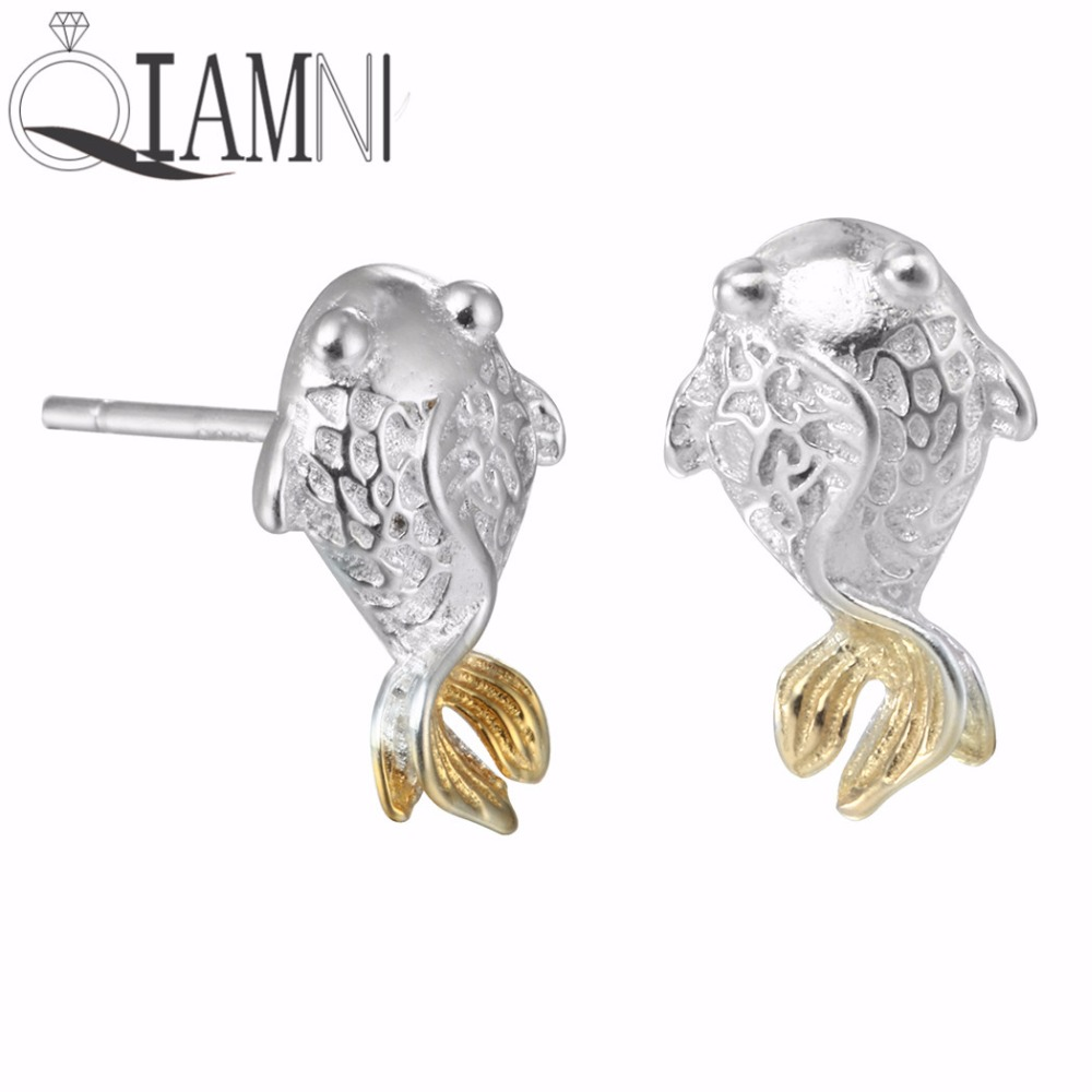 QIAMNI 925 Sterling Silver Handmade Lucky Goldfish Animal Stud Earring for Women Girls Charm Christmas Birthday Gift Jewelry