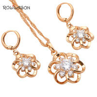 Fantastic Flower Fashion Jewelry For Ladies 18k K Gold Plated White Zirconia Jewelry Sets Earrings Necklace