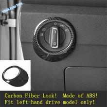 Lapetus Auto Styling Head Lights Lamp Switch Button Cover Trim For Volkswagen T-Roc T Roc 2018 - 2020 Matte / Carbon Fiber ABS lapetus auto styling matte carbon fiber style head headlamp light lamp switch button cover trim fit for toyota camry 2018 2019
