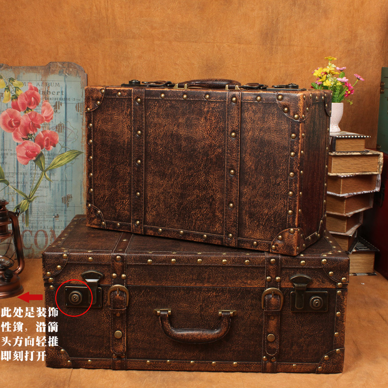 Wonderful New Retro Suitcase Storage Box To Do The Old European Style Wooden Display  Box Photography Props Wholesale Home Sorting Boxes In Figurines U0026  Miniatures From ...