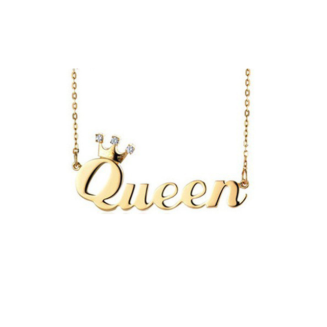 Queen Pendent Necklace With StoneEngraved Crown Name Necklace Birthday Stone Fashion Crown Jewelry Female Girl