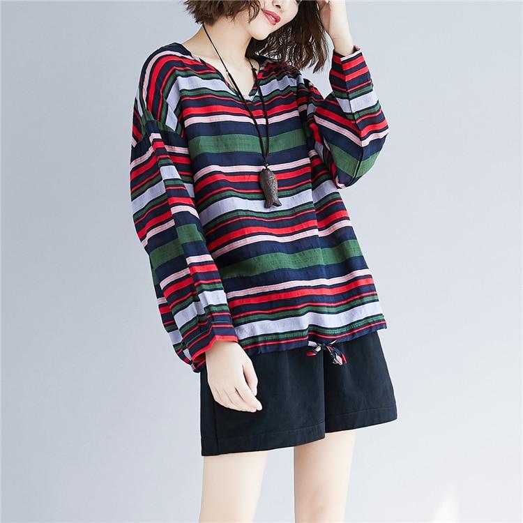 Doornot Oversized Striped Woman Tops & Tees V neck Long sleeve Ladies Tshirts Fashion Loose Drawstring Linen Women T-shirt 20