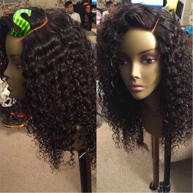 100 Human Hair Wigs For african american Peruvian Human Hair Curly Lace  Front Wig Glueless Full dfc0c4a160b1