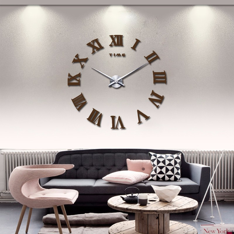 promotion 16 new home decor large roman mirror fashion modern Quartz clocks living room diy wall clock watch free shipping 7