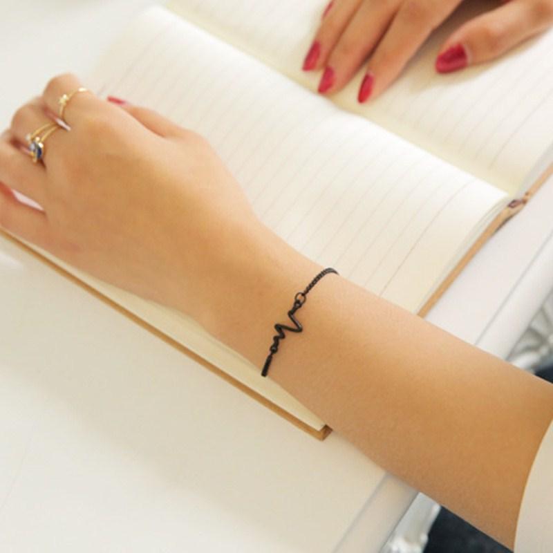 New-Listing-Fashion-Simple-personality-design-ECG-Figure-lightning-bracelet-couple-heart-beat-frequency-bracelet-1pcs