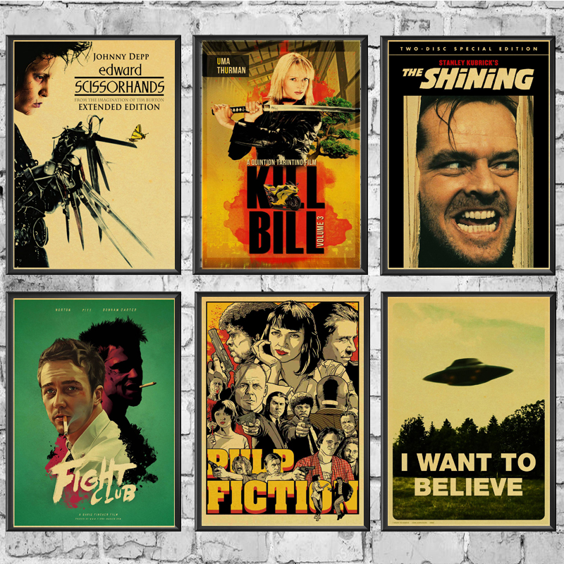 Wall-Stickers Bill-Poster Classic Movie Living-Room Home-Decoration Fight-Club/pulp Shining/kill