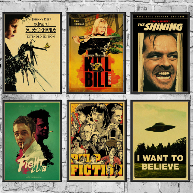 Classic Movie Fight Club/Pulp Fiction/Shining/Kill Bill  Poster Vintage Poster Wall Stickers  For Living Room Home Decoration