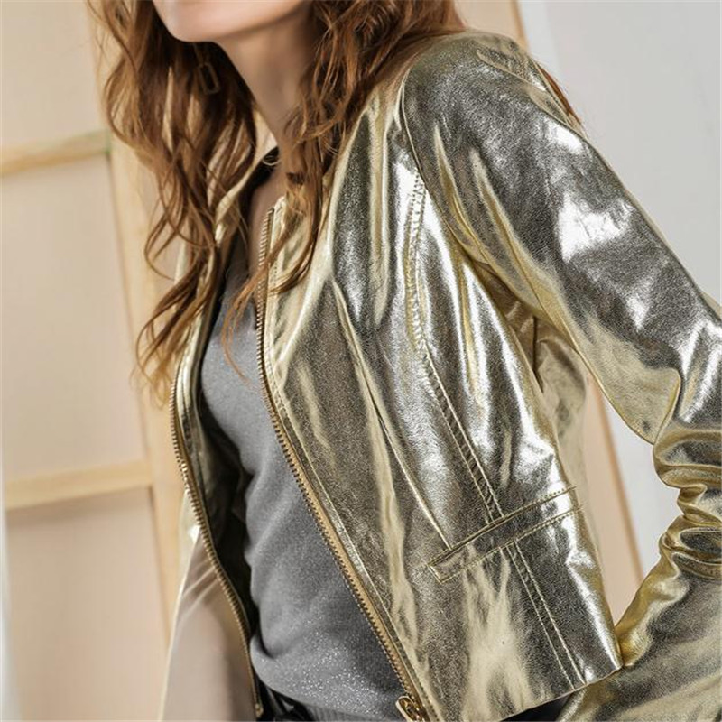 Spring and Autumn Women's Wear Metal Painted Short Jacket Coat European and American Fashion Golden   Leather   Jacket PU   Leather