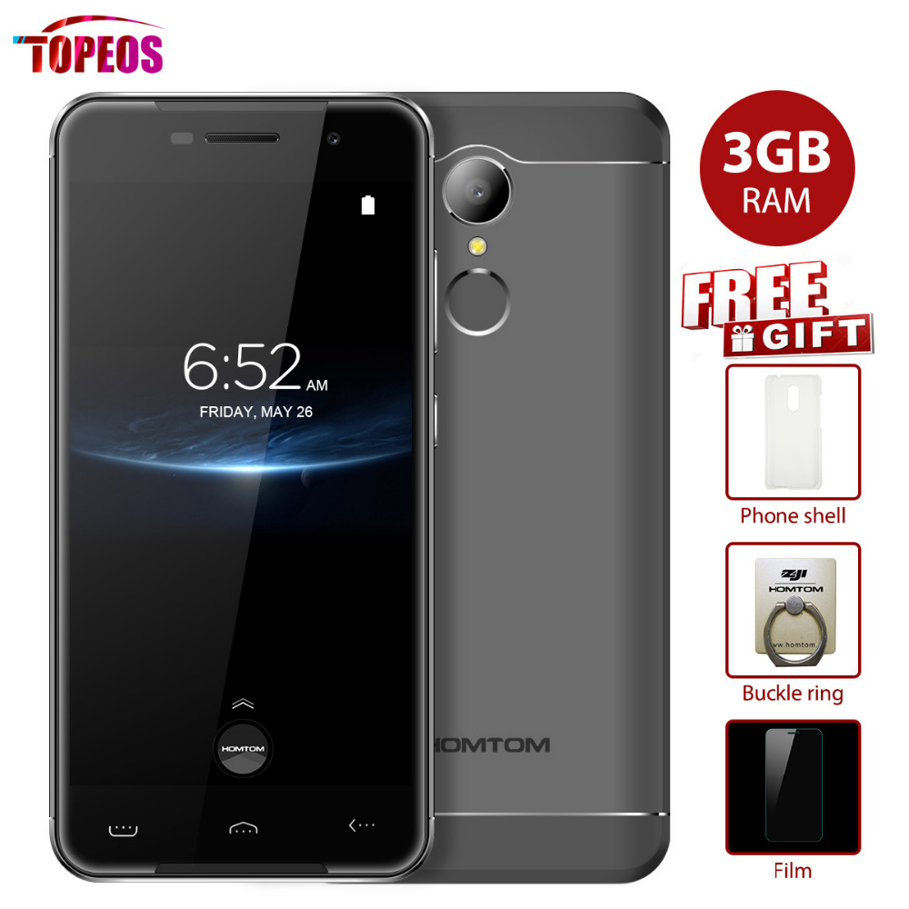 5.0'' Homtom HT37 Pro MTK6737 Quad Core 4G Mobile Phone Double Speaker Android 7.0 3GB RAM 32GB ROM HD 13MP 3000mAh Smartphone