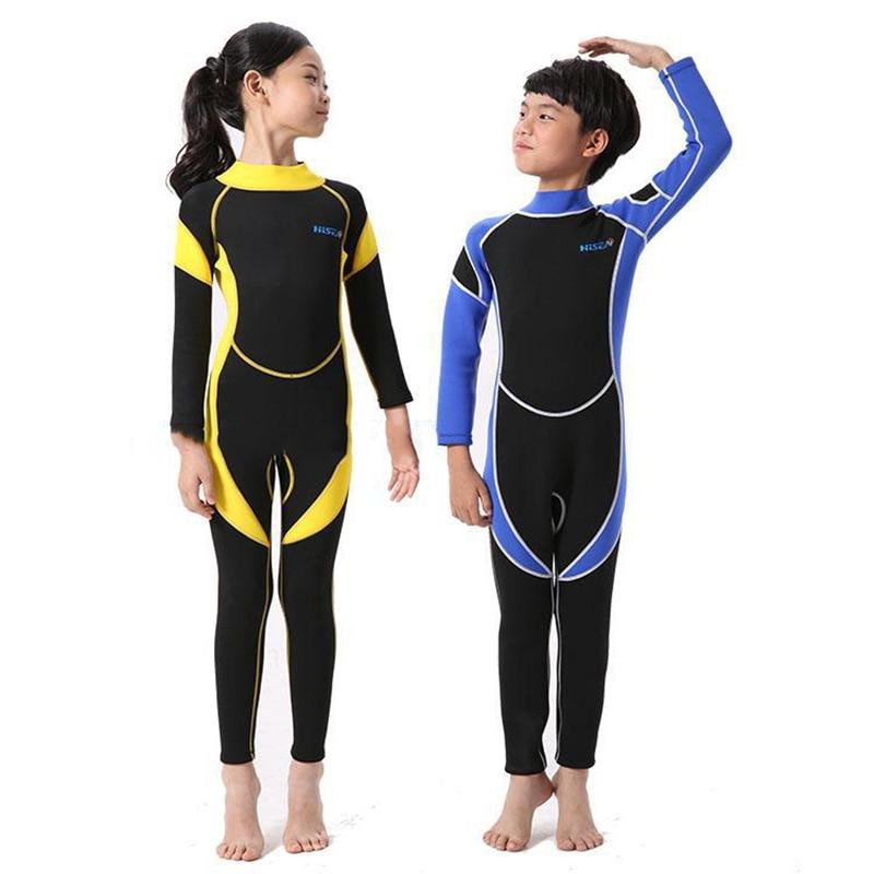 цена на Kids 2.5MM Neoprene Scuba Diving Suit Wet Suits Kids Swimwear Surfing Snorkeling One-Piece Suit Children Wetsuit Swim Jump Suit