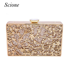 Luxury Women Flower Diamond Evening Bag Metal Crystal Wedding Bridal Party Purse Day Clutches Chains Handbags Shoulder bag Li761