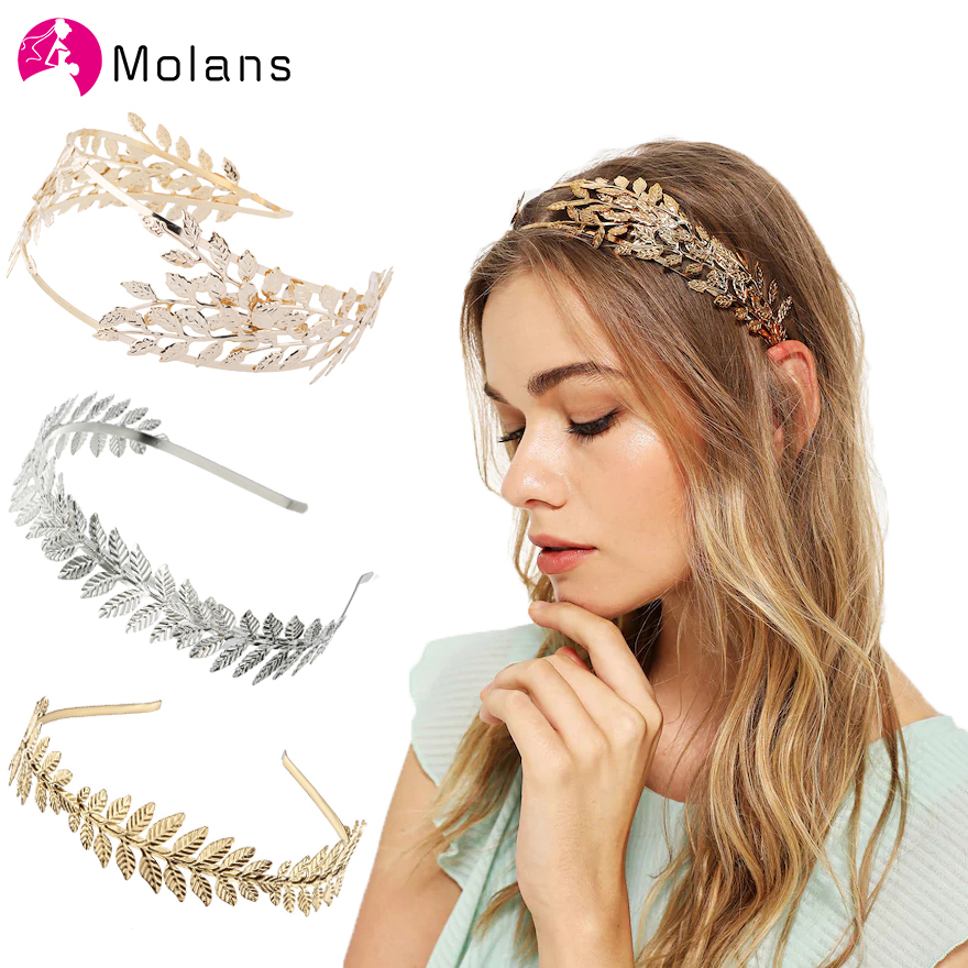 Molans Baroque Bridal Leaves Headbands Double Gold Leaves Hollow Hairbands New Alloy Headband Hair Accessories For Women Wedding