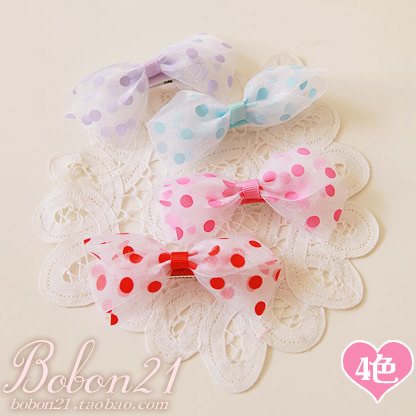 Sweet lolita princess pink gentlewoman 5-color sheer  flavor polka dot bow hair clips ac0853 a pair