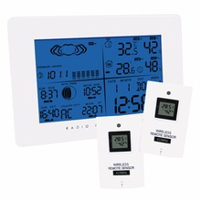 Buy Wireless Weather Station Indoor Outdoor Thermometer Temperature Humidity w/ RCC Radio Controlled Clock w/ 2 Remote Sensor