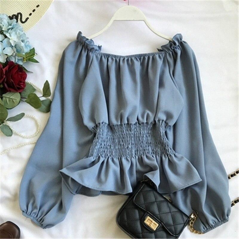 2019 summer new lantern sleeve chiffon women blouse and shirts solid slim sexy slash neck ruffles lady shirts outwear tops Z1698 1