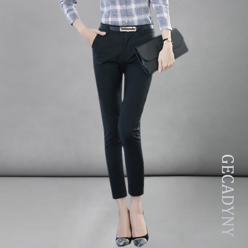 2018 Spring New Fashion Mid Waist Pencil   Pants   For Women Office OL Style Work Wear Skinny   Pants     Capris   Female Vintage Trousers