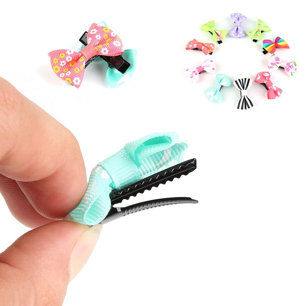 10Pcs Kids Toddler Hairpin Baby Girls Mini Sweet Solid Dot Floral Hair Clip Set