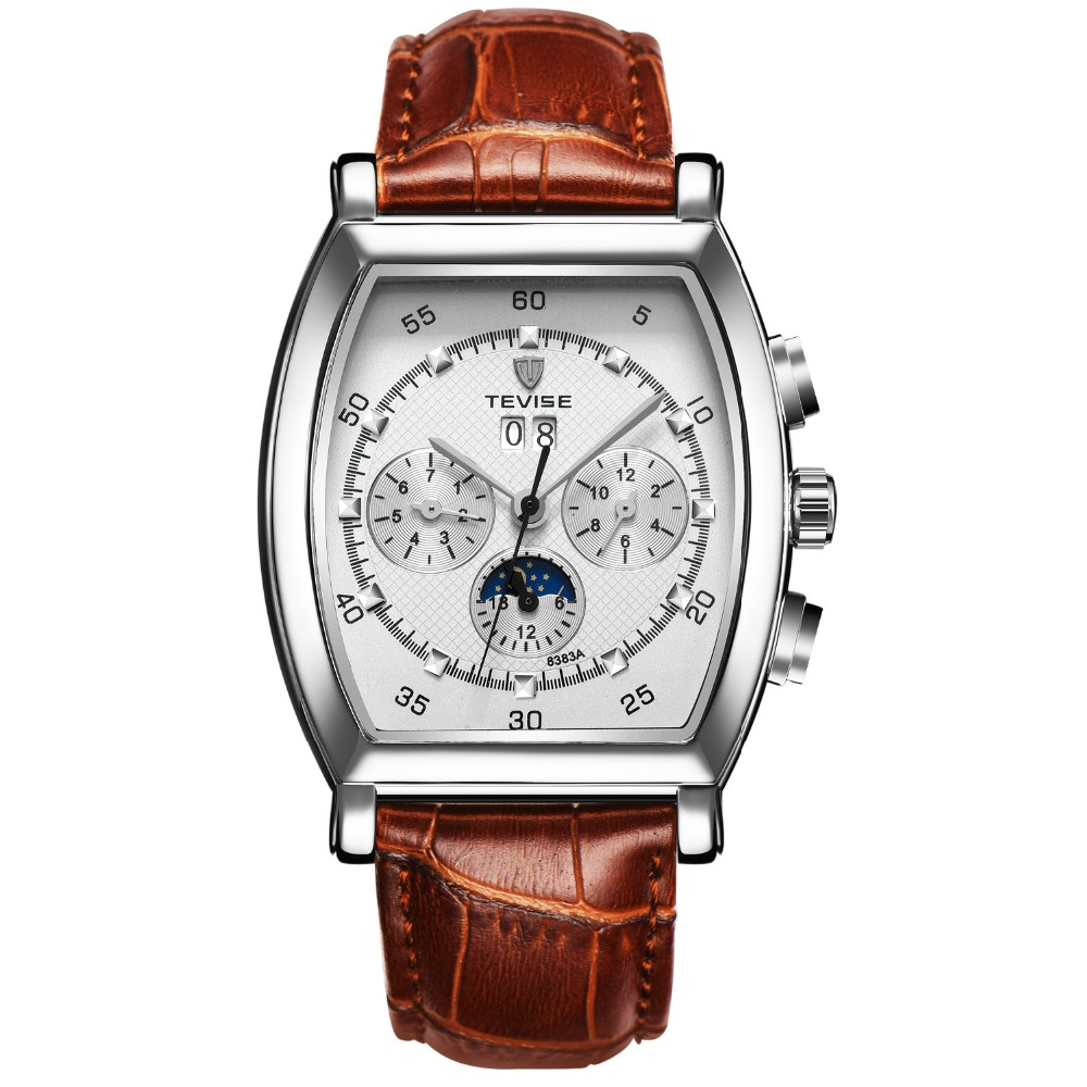 TEVISE hot fashion mechanical watch man 2016 new leather wrist watches mens luxury brand watch waterproof Moon Phase hour clock tevise fashion mechanical watches stainless steel band wristwatches men luxury brand watch waterproof gold silver man clock gift