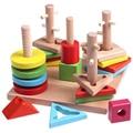 Montessori topping-on game Geometric Board Block Stack Sort 5 pillar matching block For Kids Match Games