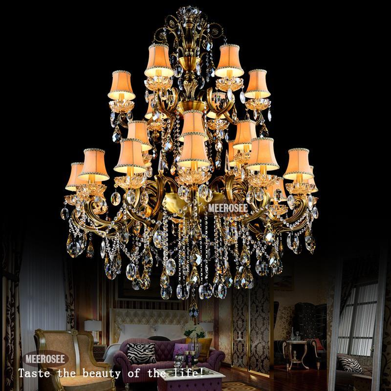 Fashion Big crystal chandelier lighting fixture antique brass color Large hanging Light Fitting Bronze color for Foyer Hallway