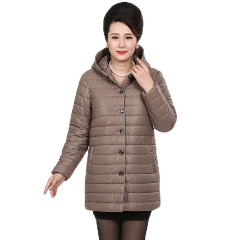 ФОТО New Autumn Winter Cotton Coat Women Middle Age Slim Medium Long Padded Jacket Hooded Outerwear Mother Coat Plus Size PW608