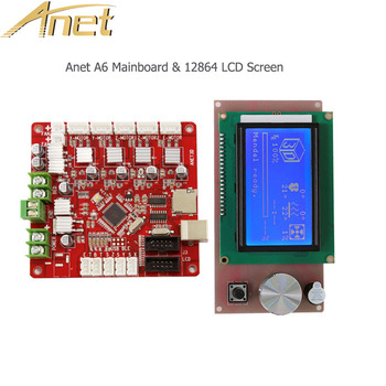 Anet 3D Printer parts 12864 LCD Screen Smart Display and 3D Printer Control board Mainboard Firmwear for Anet A6 3D Printer p1025950 039 main board for the zebra gt800 printer board gt800 gt820 gt830 barcode printer mainboard formatter board