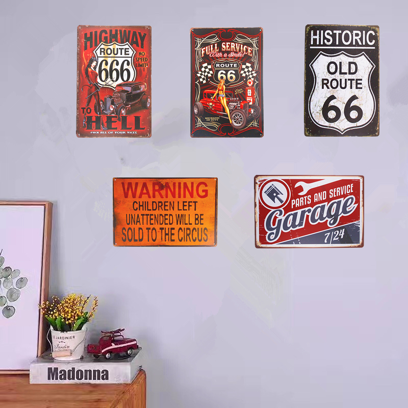 Shabby chic Plechové cedule Route 666 Pin-up Art Posters Home Decor Restaurant Coffee Cafe Wall Plaques