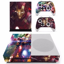 Avengers Iron Man Skin Stickers For Microsoft Xbox One S Console and 2 Controllers For Xbox One Slim Skin Sticker Vinyl
