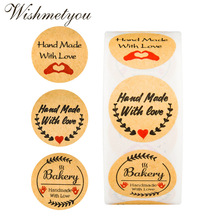 WISHMETYOU 500Pcs Roll Handmade With Love DIY Handwritten Cake Baking Notes Sticker Seddy Stickers Wedding Decoration Round